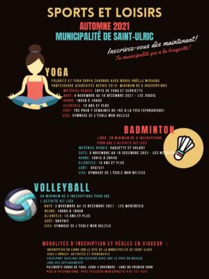 Activités de loisirs automne 2021